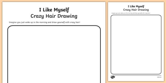 I Like Myself Crazy Hair Drawing - usa, america, i like myself, all about me, crazy hair, drawing