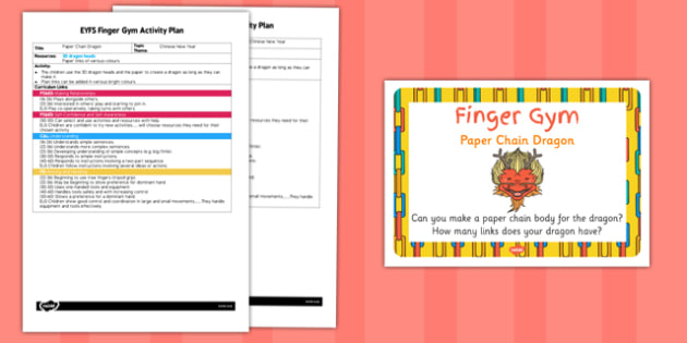 EYFS Paper Chain Finger Gym Activity Plan and Prompt Card Pack