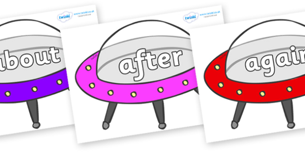 KS1 Keywords on Spaceships - KS1, CLL, Communication language and literacy, Display, Key words, high frequency words, foundation stage literacy, DfES Letters and Sounds, Letters and Sounds, spelling