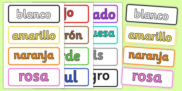 Tarjetas de vocabulario Los colores - colores