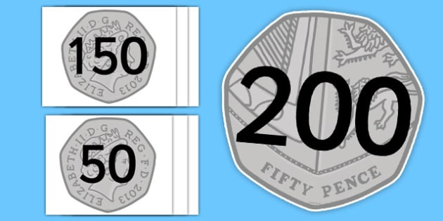 Counting in 50s on 50p Coins - money, coins, amount, value, fifty, fifties