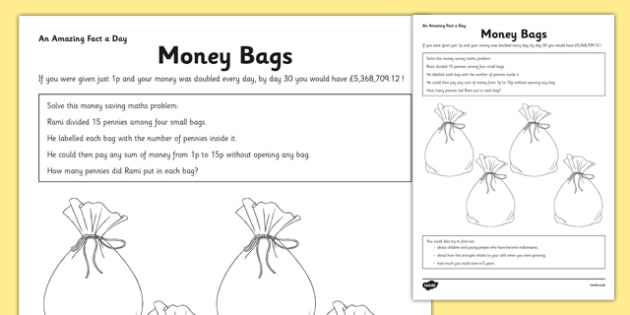 Money Bags Activity Sheet - money, problem solving, money bags, activity, worksheet