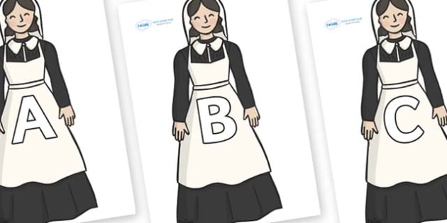 A-Z Alphabet on Florence Nightingale - A-Z, A4, display, Alphabet frieze, Display letters, Letter posters, A-Z letters, Alphabet flashcards