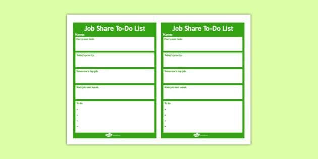 Job Share To-Do List - job-share, to-do, list, job, share, to do list, list