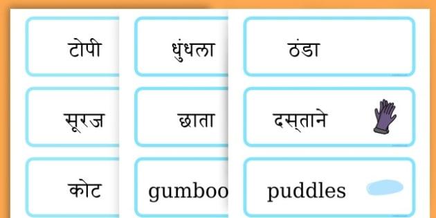 Winter Word Cards - seasons, weather, key words, visual aids  - Hindi