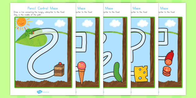 Pencil Control Maze Worksheets to Support Teaching on The Very Hungry Caterpillar - australia