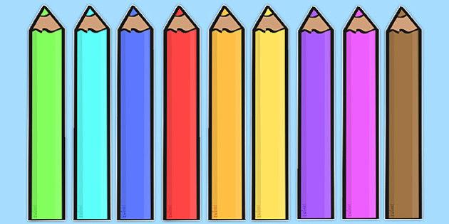 Editable Coloured Pencils - Display, editable, label, pencil, colour display