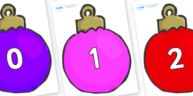 Numbers 0-31 on Plain Baubles (Multicolour) - 0-31, foundation stage numeracy, Number recognition, Number flashcards, counting, number frieze, Display numbers, number posters