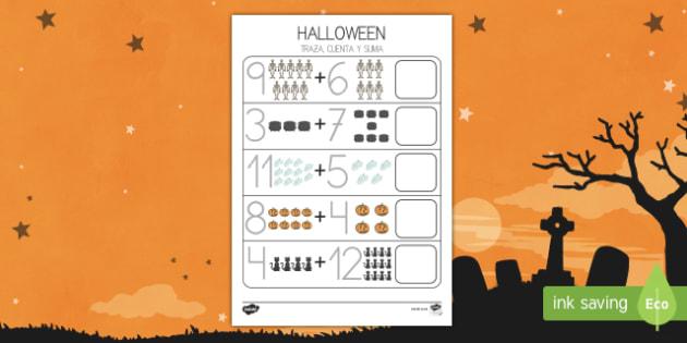 Halloween  0-20 Ficha para contar y sumar