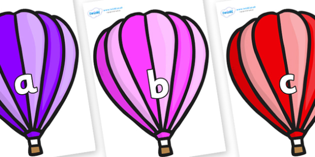Phase 2 Phonemes on Hot Air Balloons (Stripes) - Phonemes, phoneme, Phase 2, Phase two, Foundation, Literacy, Letters and Sounds, DfES, display