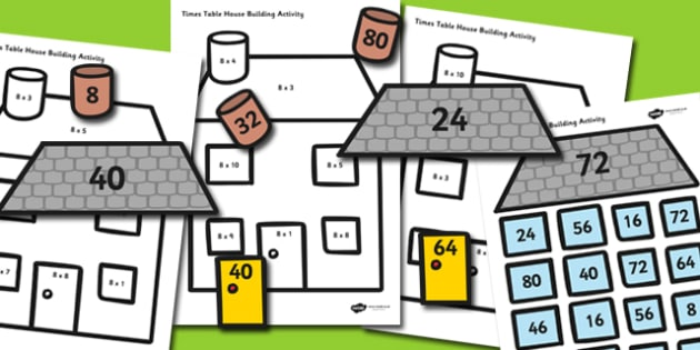 8 Times Table Active Picture Building Activity House - timestable, times table, times tables