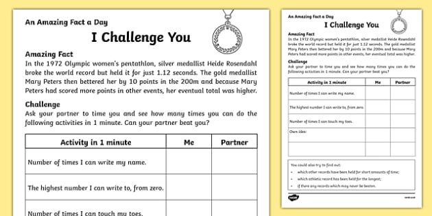 I Challenge You Activity Sheet, worksheet