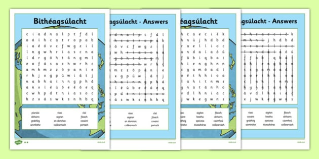 Bithéagsúlacht Biodiversity Word Search Gaeilge - Biodiversity, Green schools, environment, word search, puzzle, information, green flag, nature, irish, gaeilge