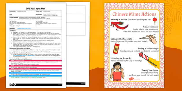 Chinese Mime EYFS Adult Input Plan and Resource Pack - eyfs planning, early years activities, drama, circle time game
