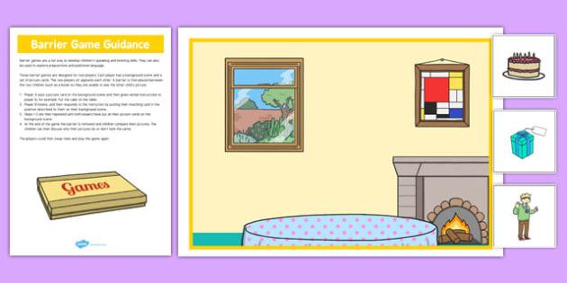Birthday Party Barrier Game - language development, keywords, expressive skills, receptive skills, SLCN, barrier game, instructions