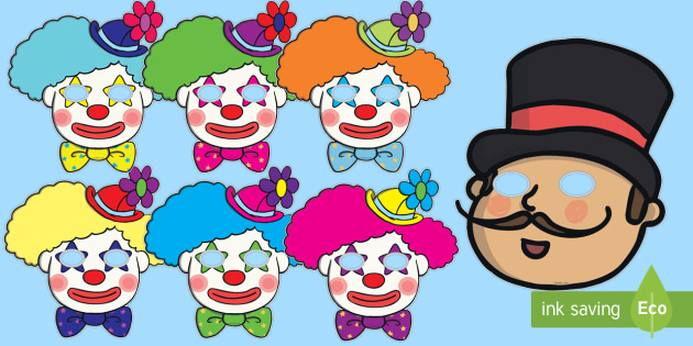 Circus Role Play Masks - circus, clown, juggler, role play mask, role play