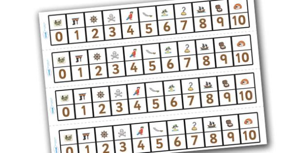 Pirates Number Track (1-10) - Pirates, Maths, Math, number track, farm, numbertrack, Counting, Numberline, Number line, Counting on, Counting back, Pirate, Topic, cutting, fine motor skills, activity,  pirate, pirates, treasure, ship, jolly roger, sh