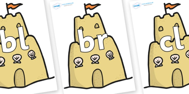 Initial Letter Blends on Sandcastles - Initial Letters, initial letter, letter blend, letter blends, consonant, consonants, digraph, trigraph, literacy, alphabet, letters, foundation stage literacy