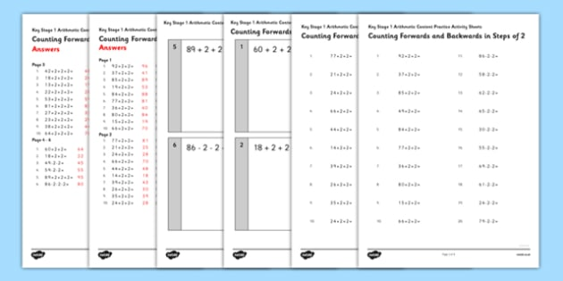 KS1 Arithmetic Content Practice Activity Sheet Pack Counting Forwards and Backwards in Steps of 2 - Maths, KS1, Key Stage 1, Arithmetic, counting, worksheet