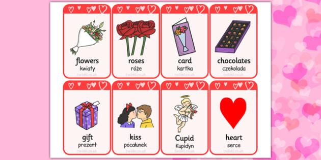 Valentine's Day Flashcards Polish Translation - polish translation