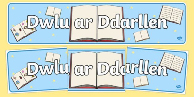 We Love Reading Display Banner (Welsh) - Welsh, we love reading, reading, literacy, reading area, Wales, display, banner, sign, poster, book area, library, classroom labels, area signs,cymru