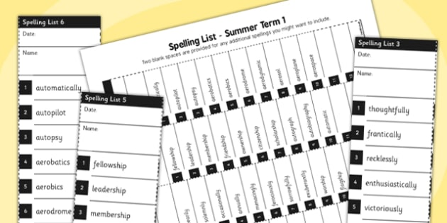 Home Educators Spelling Lists Year 6 Summer 1 - home, educators, spelling, lists