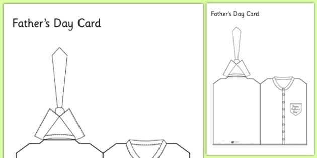 Fathers Day Shirt And Tie Card - card template, fathers day card