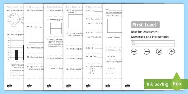 CfE First Level Baseline Test - assessment, CfE, maths, numeracy, baseline,test,Scottish