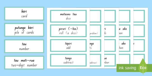 Maths Vocabulary Word Cards