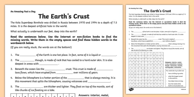 The Earth's Crust Activity Sheet - amazing fact a day, activity, activities, earths crust, worksheet