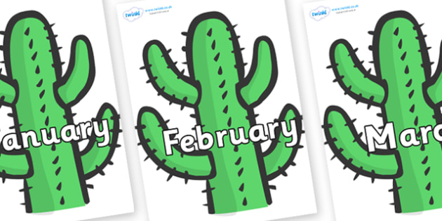 Months of the Year on Cactus - Months of the Year, Months poster, Months display, display, poster, frieze, Months, month, January, February, March, April, May, June, July, August, September