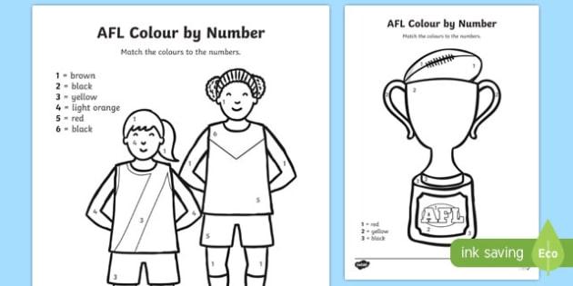 AFL Australian Football League Football Colour by Number - sport