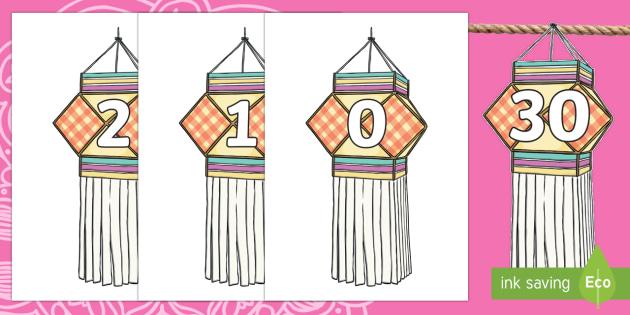 Diwali Lanterns 0 to 30 Bunting Display Numbers