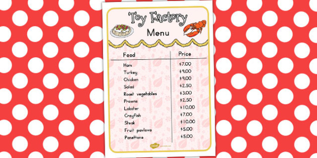 Toy Factory Menu - australia, toy factory, christmas, menu