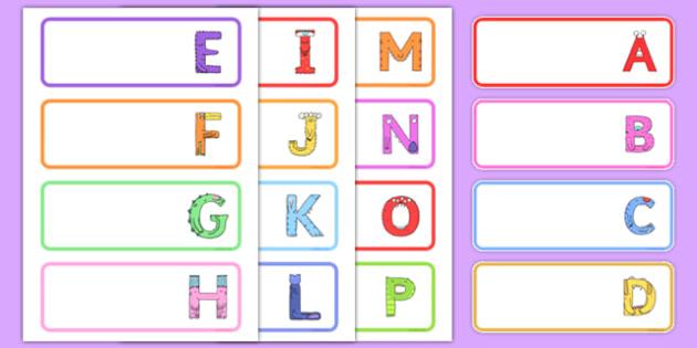Upper Case Monster Alphabet Drawer Peg Name Labels - uppercase, monster, alphabet, drawer, peg, name, label, display