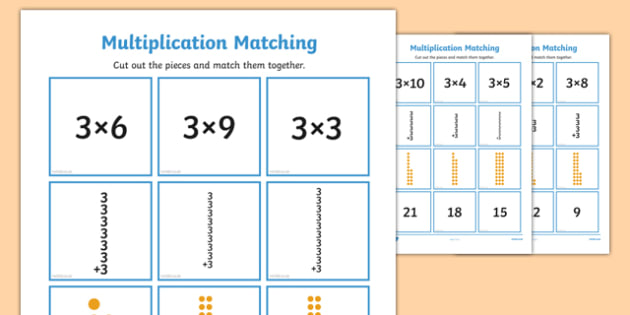 3 Times Table Multiplication Matching Puzzle - times table, multiplication, matching, puzzle, activity