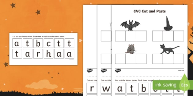 Halloween CVC Cut and Paste Activity