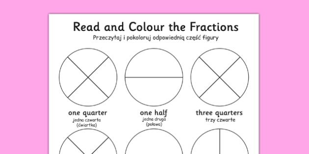 Year 1 Read and Colour a Fraction Polish Translation - polish, fractions, colours, reading