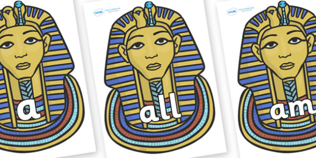 Foundation Stage 2 Keywords on Tutankhamun - FS2, CLL, keywords, Communication language and literacy,  Display, Key words, high frequency words, foundation stage literacy, DfES Letters and Sounds, Letters and Sounds, spelling