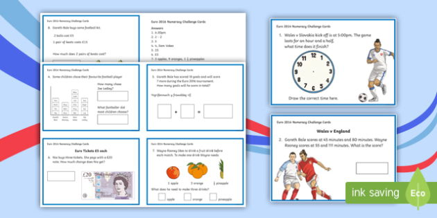 Euro 2016 Wales Numeracy Challenge Cards-Welsh