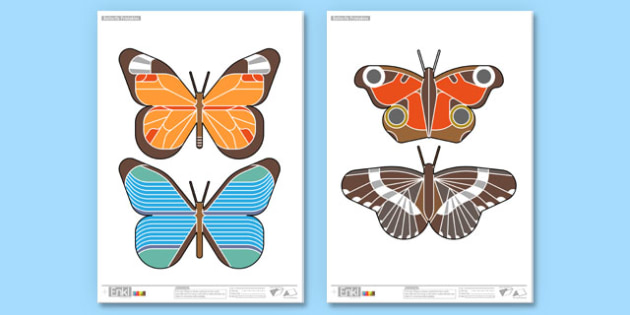 Enkl Butterfly Printable Pages - animals, minibeasts, display, paper craft, origami, modelling, model, insects, caterpillar,