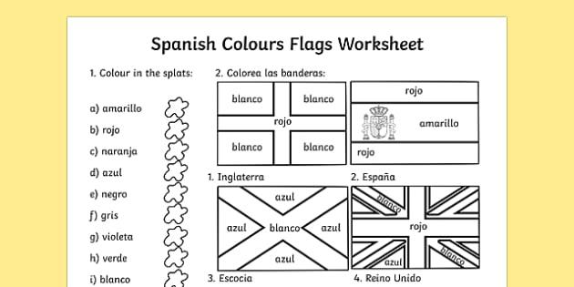 Ficha de colores y banderas en inglés - colores, banderas, inglés