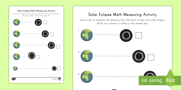Solar Eclipse Math Measuring Activity Sheet - 2017, Printables, measurement, stand units of measurement, inches, , Worksheet