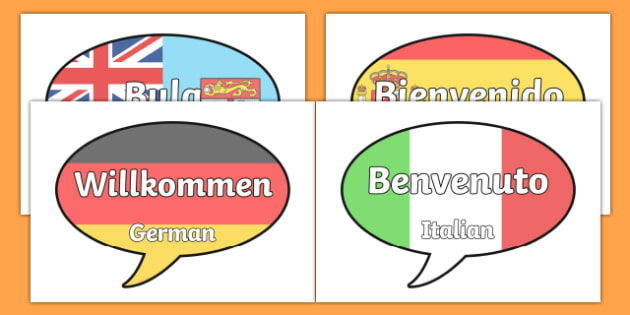 Mixed Languages Welcome on Speech Bubbles Including Pacific Islands - nz, maori, solomon, islands,  samoan, tongan, fijian, fiji hindi, new zealand