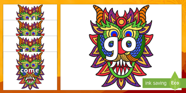Tricky Words on Chinese New Year Dragon Mask - Tricky words, DfES Letters and Sounds, Letters and sounds, display, words