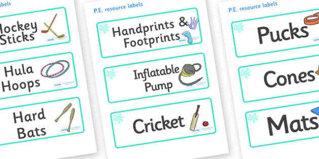 Turquoise Themed Editable PE Resource Labels - Themed PE label, PE equipment, PE, physical education, PE cupboard, PE, physical development, quoits, cones, bats, balls, Resource Label, Editable Labels, KS1 Labels, Foundation Labels, Foundation Stage
