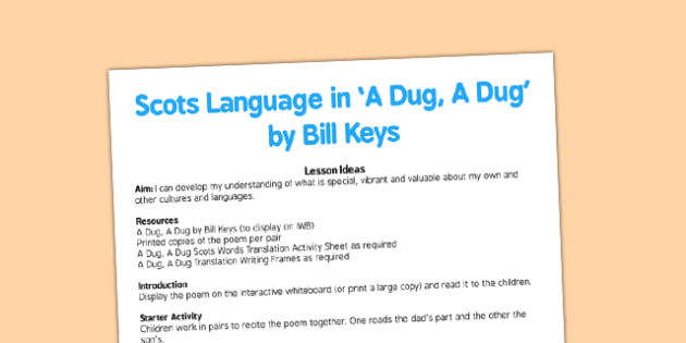 Scots Language in A Dug, A Dug by Bill Keys Lesson Ideas - cfe, curriculum for excellence