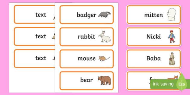 The Mitten Word Cards - the mitten, story, word cards, mitten, warm