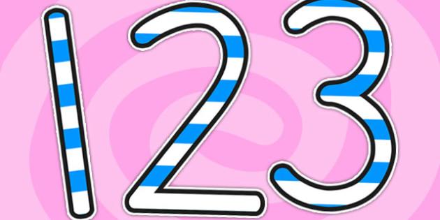 Stripey Blue Display Numbers - numbers, display numbers, number