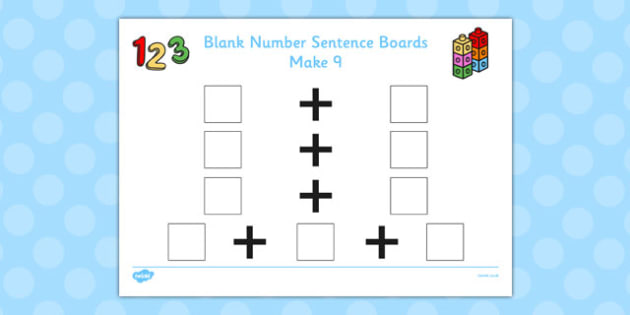 Blank Number Sentence Boards to 10 Make 9 - sentence boards